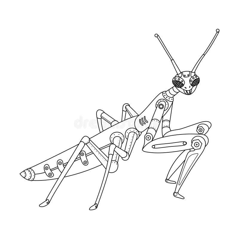 Вектор книжка-раскраски mantis стиля Steampunk иллюстрация штока