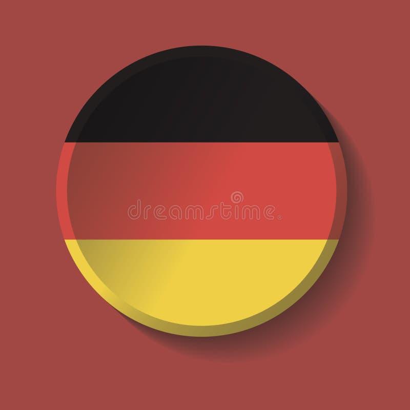 Вектор - кнопка тени круга бумаги флага Германии иллюстрация штока