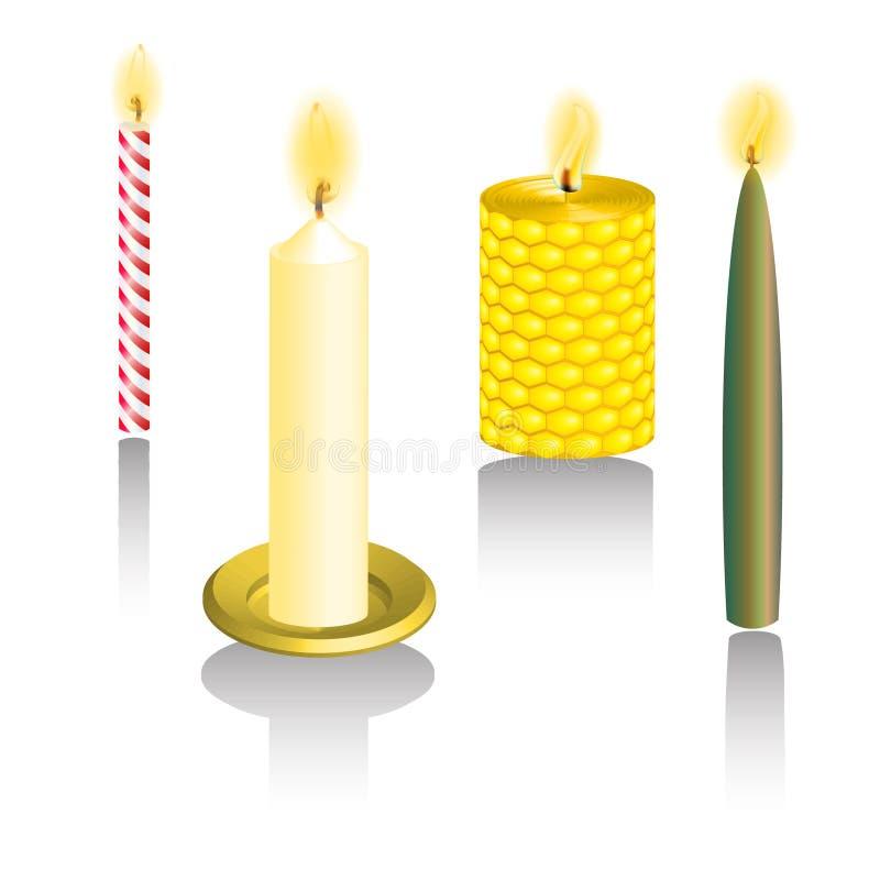 Вектор кнопки сети 3D свечи установленный стоковое изображение rf