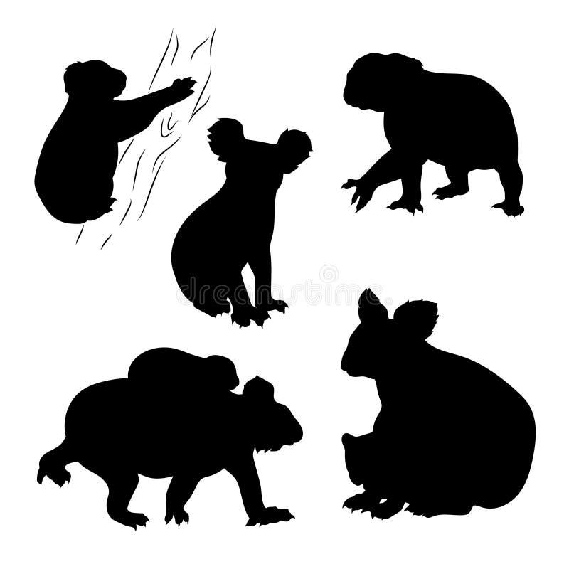 Вектор коалы установленный иллюстрация вектора