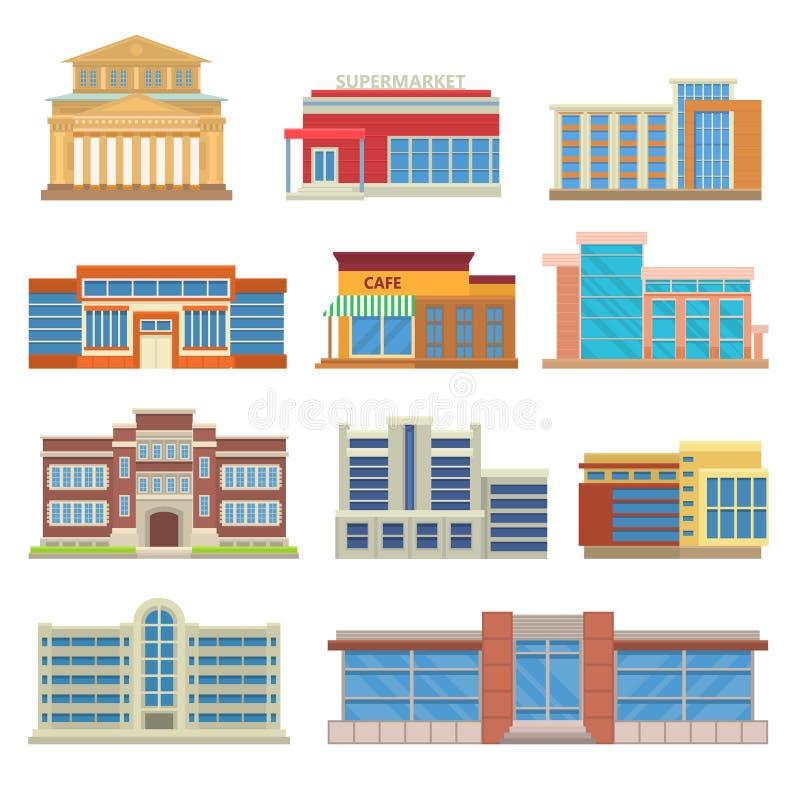 Вектор коммерчески архитектуры зданий плоский иллюстрация штока