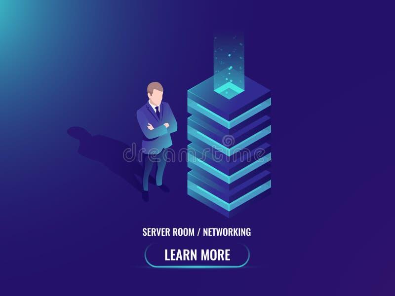 Вектор комнаты сервера равновеликий, концепция хранения облака, супер компьютер, большое преобразование данных, веб - хостинг, аб бесплатная иллюстрация