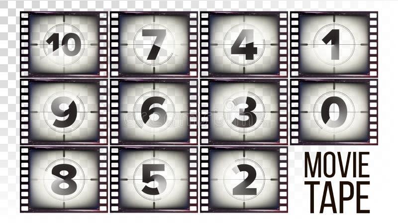 Вектор комплекса предпусковых операций ленты кино Monochrome прокладка фильма Grunge Брайна От 10 до нул Изолированный на прозрач иллюстрация вектора