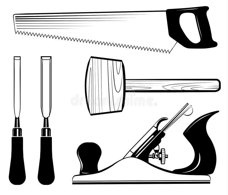 Вектор комплекта инструментов Woodworking и плотничества Мушкел, самолет jack, зубило, увидел иллюстрация штока