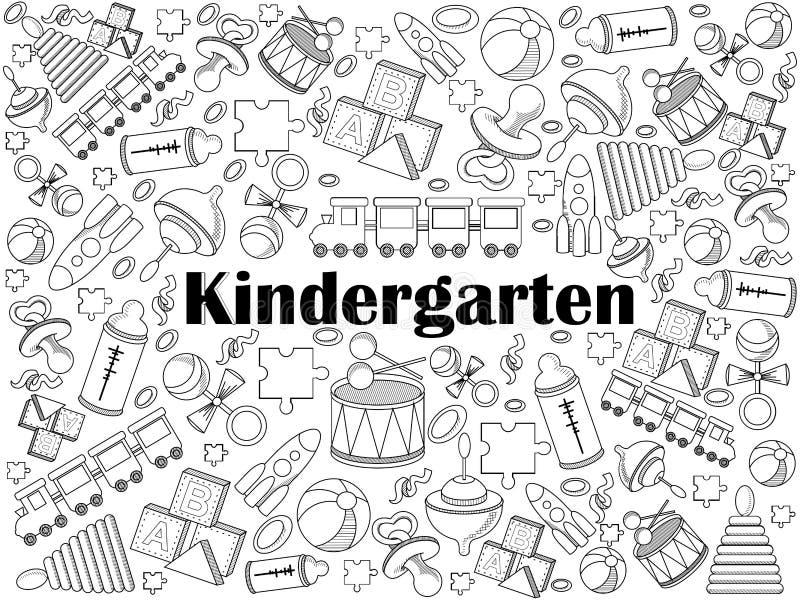 Вектор комплекта детского сада бесцветный бесплатная иллюстрация