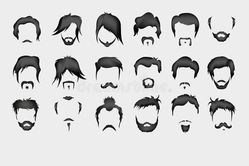 вектор комплекта сердец шаржа приполюсный волосы, усик, борода иллюстрация штока