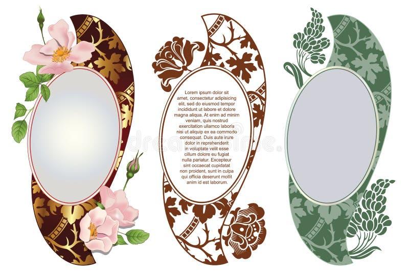 вектор комплекта сердец шаржа приполюсный Романтичный ярлык с цветками бесплатная иллюстрация