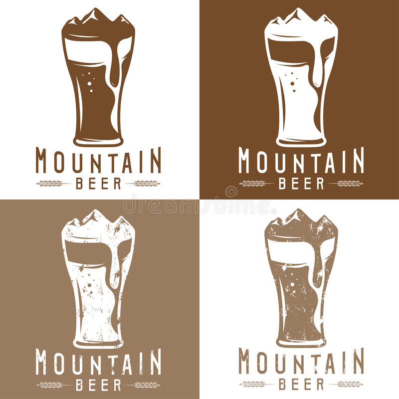 Вектор комплекта ярлыков пива горы винтажный бесплатная иллюстрация