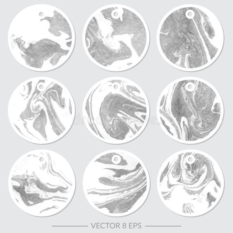вектор Комплект бирок с мраморными текстурами иллюстрация штока