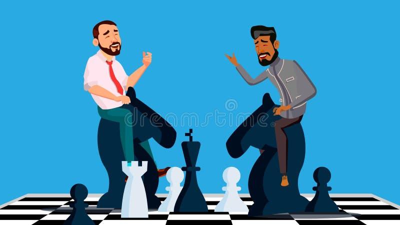 Вектор конкуренции дела 2 бизнесмена ехать лошади шахмат черно-белые для встречи одина другого иллюстрация иллюстрация вектора