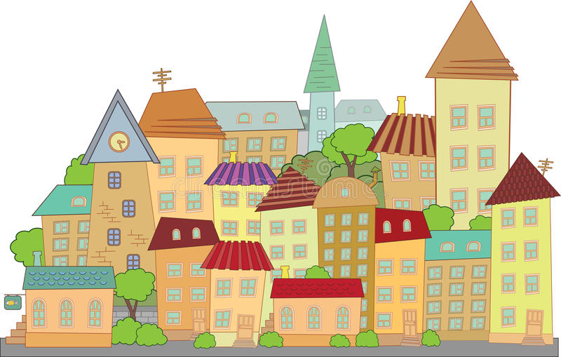 вектор конструкции города шаржа иллюстрация штока