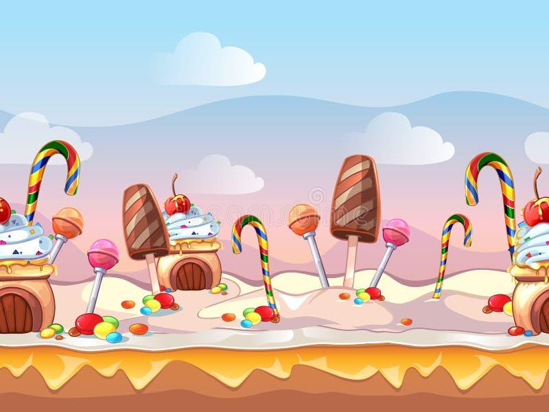 Вектор конфеты сказки шаржа безшовный иллюстрация штока