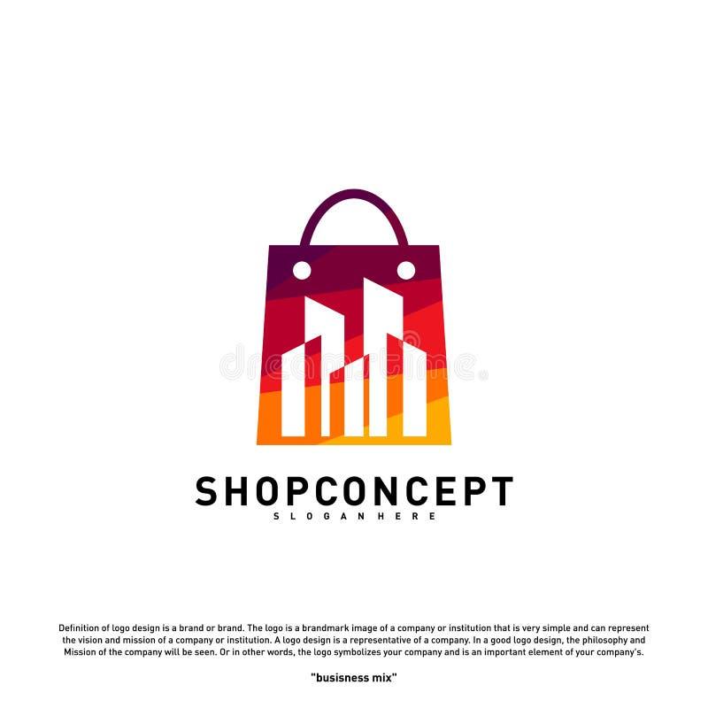 Вектор концепции логотипа города моды Торговый центр с современным логотипом города Символ магазина и подарков иллюстрация вектора