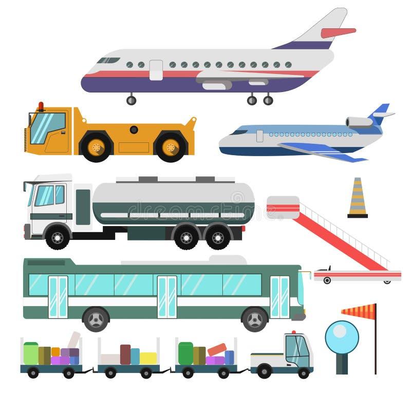 Вектор кораблей и самолетов обслуживания авиапорта изолировал значки иллюстрация штока
