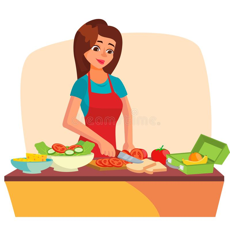 Вектор коробки для завтрака Делать здоровый школьный обед для детей Делать коробку школьного обеда Иллюстрация персонажа из мульт иллюстрация вектора