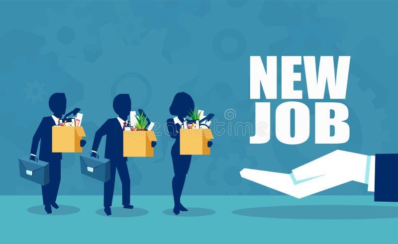Вектор корпоративного босса предлагая новую возможность трудоустройства к работникам иллюстрация вектора