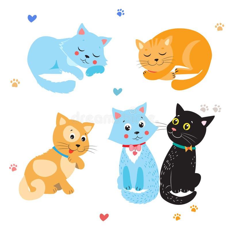 Вектор котов шаржа милый Комплект различных милых котов котята предпосылки белые иллюстрация штока