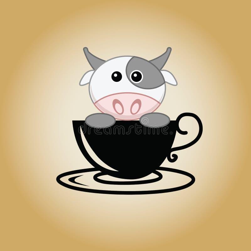 Вектор кофе логотипа коровы стоковые фотографии rf