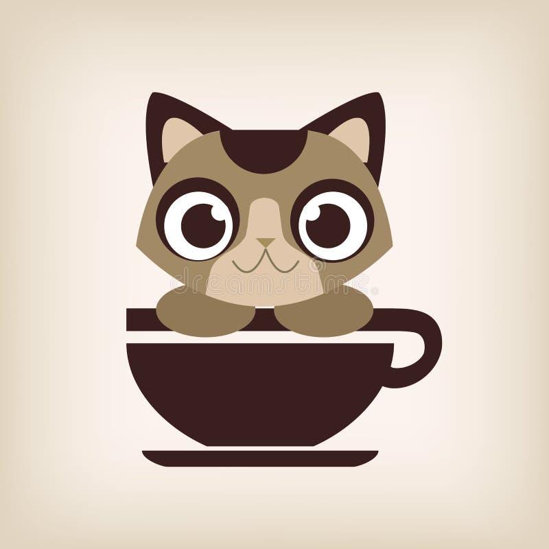 Вектор кофе логотипа кота стоковые изображения