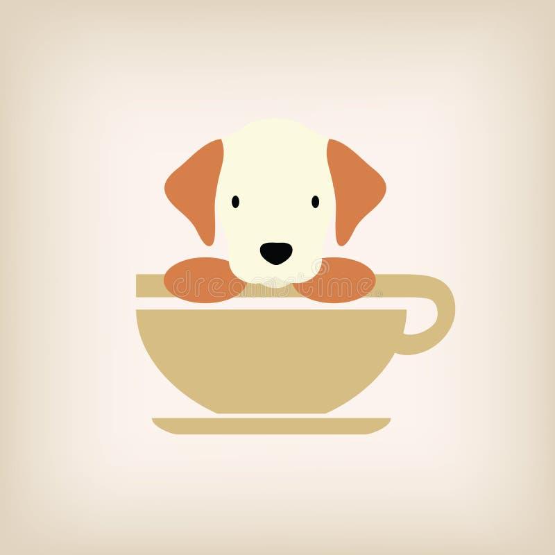 Вектор кофе логотипа собаки стоковое фото rf