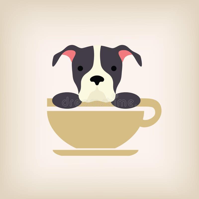 Вектор кофе логотипа собаки стоковые фото