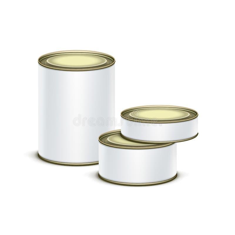 Вектор кофе чая контейнера белой коробки олова упаковывая иллюстрация вектора