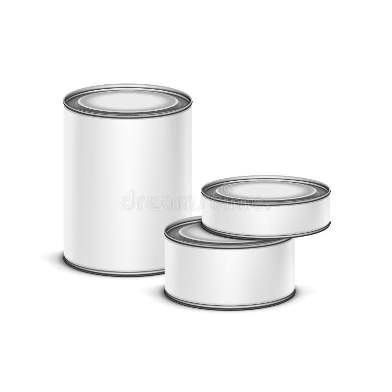 Вектор кофе чая контейнера белой коробки олова упаковывая иллюстрация штока