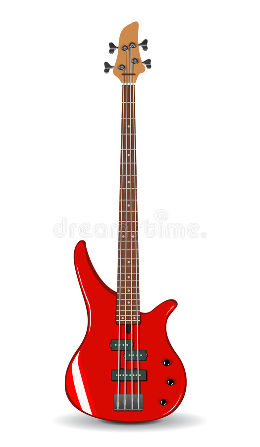 вектор красного цвета иллюстрации басовой гитары иллюстрация штока