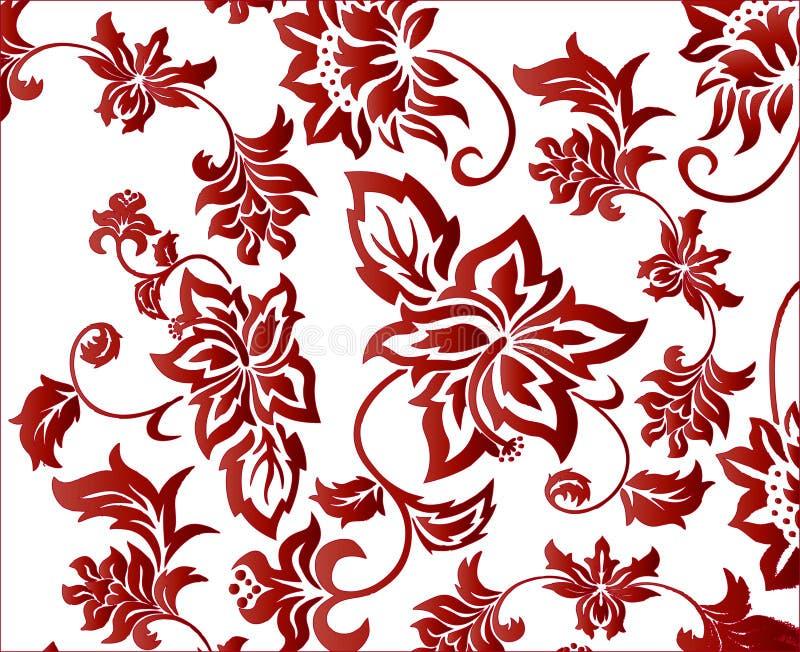 вектор красного цвета картины цветка предпосылки богато украшенный бесплатная иллюстрация