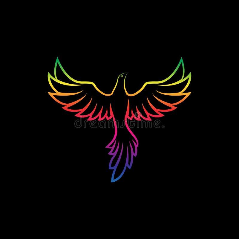 Вектор красочных птиц конструирует на черной предпосылке, животные одичалые Птицы логотип или значок иллюстрация вектора