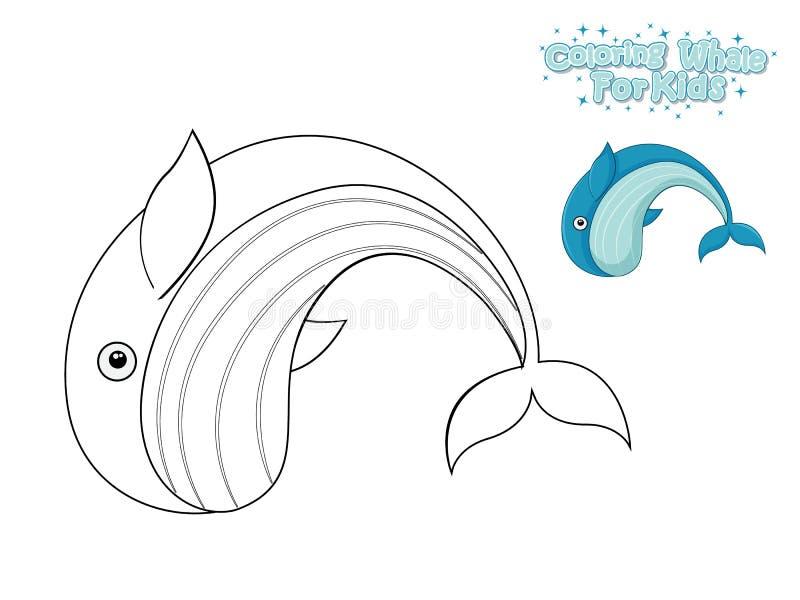 Вектор крася милого кита мультфильма E Иллюстрация вектора с морским животным стиля мультфильма смешным иллюстрация вектора