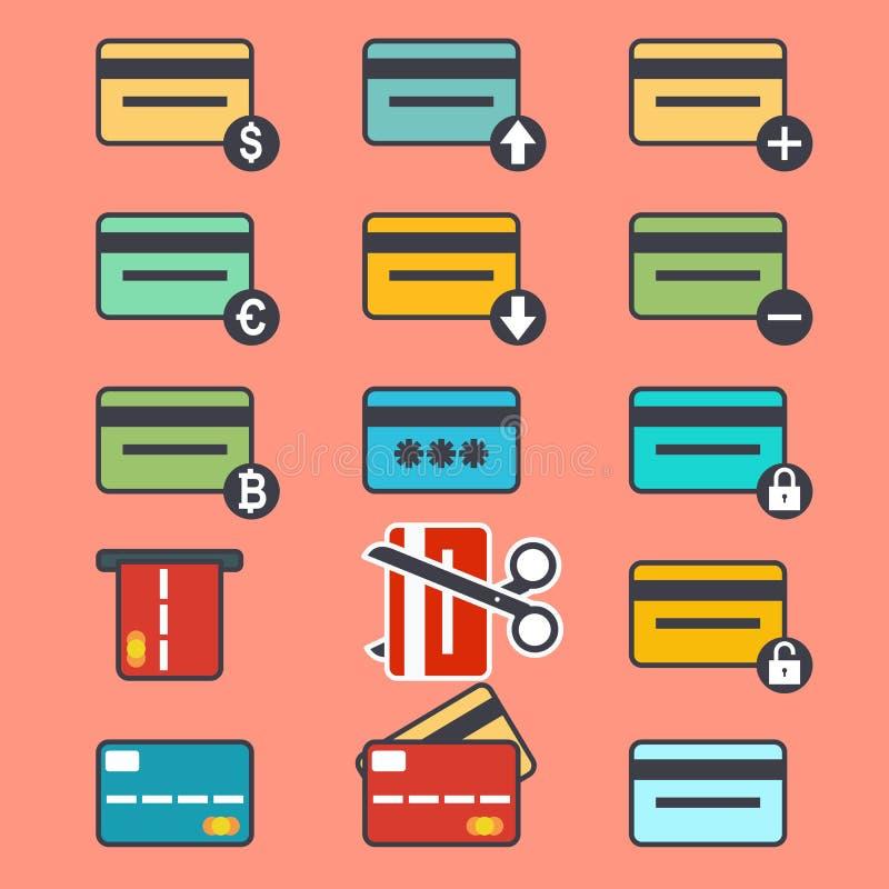 Вектор кредитной карточки, идентичность, бумажник, минируя ферма, оборудование, bitcoin, sim, передвижная оплата, обмен, atm иллюстрация штока