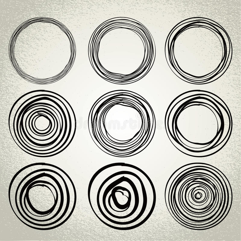 Вектор: круги нарисованные рукой, элементы дизайна иллюстрация штока