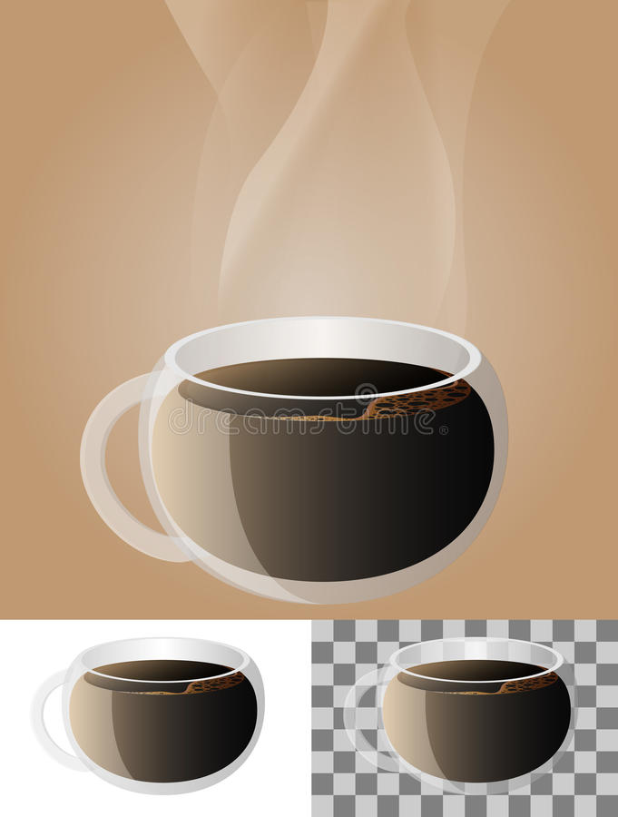Вектор кружки стеклянного кофе прозрачный иллюстрация вектора