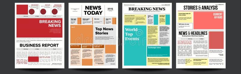 Вектор крышки газеты установленный С заголовком, изображения, статьи страницы Газетная бумага, данные по репортажа План прессы еж иллюстрация штока