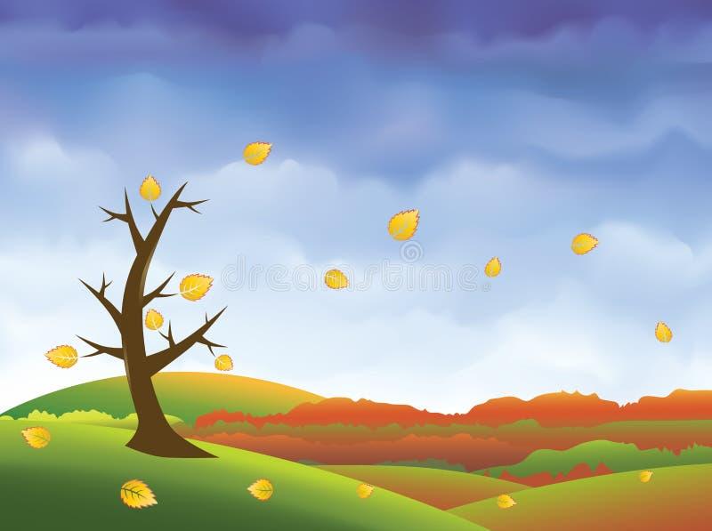 вектор ландшафта падения предпосылки осени иллюстрация штока