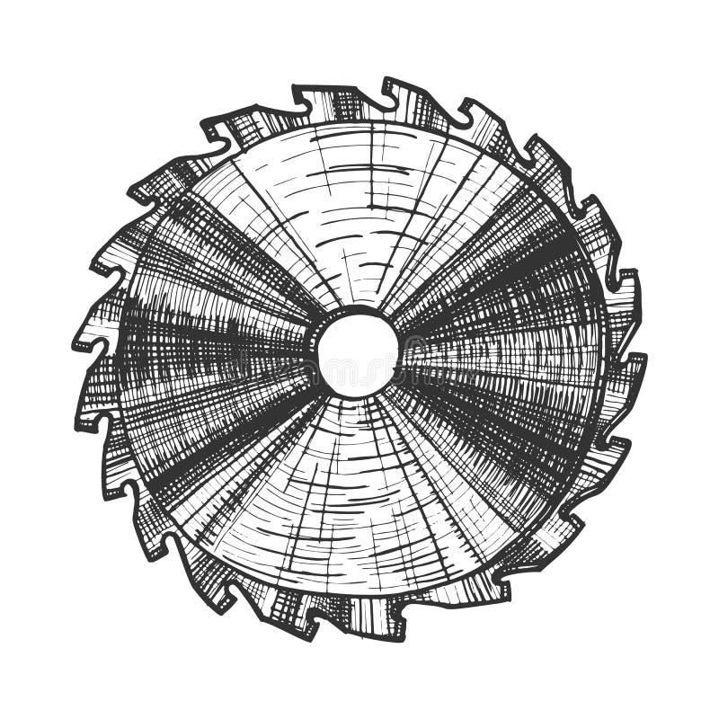 Вектор лезвия круглой пилы детали инструмента плотничества иллюстрация штока
