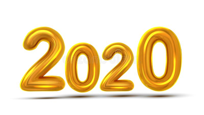 Вектор летчика торжества Нового Года 2020 номеров иллюстрация вектора