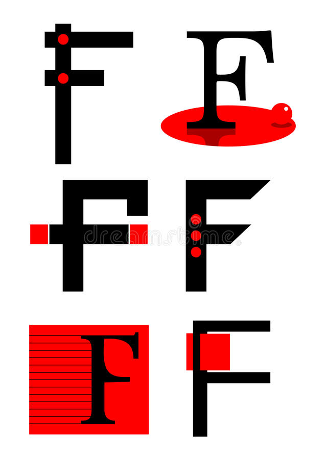 вектор логосов икон f алфавита иллюстрация вектора