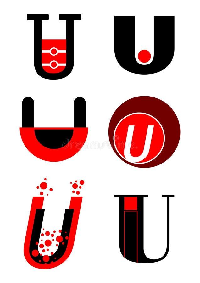 вектор логосов u икон алфавита иллюстрация вектора