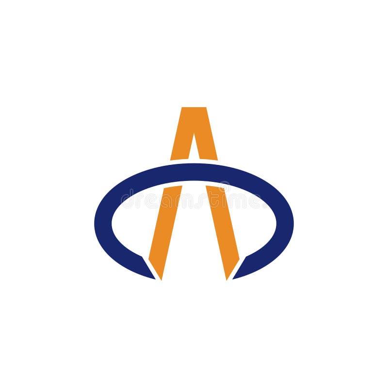 Вектор логотипа абстрактного swoosh письма a овального простой иллюстрация штока
