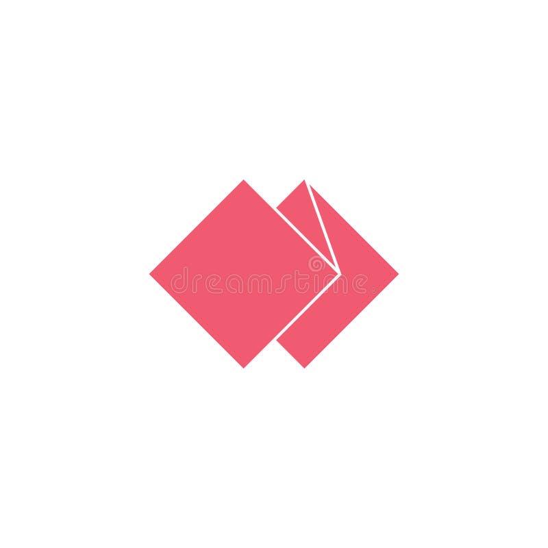 Вектор логотипа бумажной створки геометрического простого иллюстрация штока