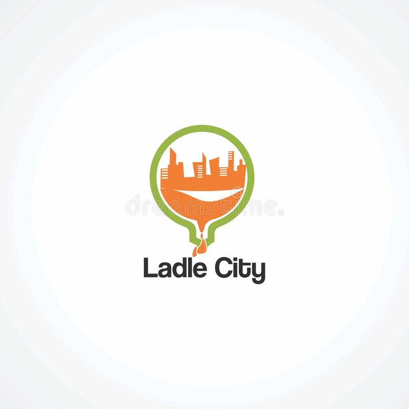 Вектор логотипа города ковша с кругом на воде, элементе, и значке падения для компании иллюстрация штока