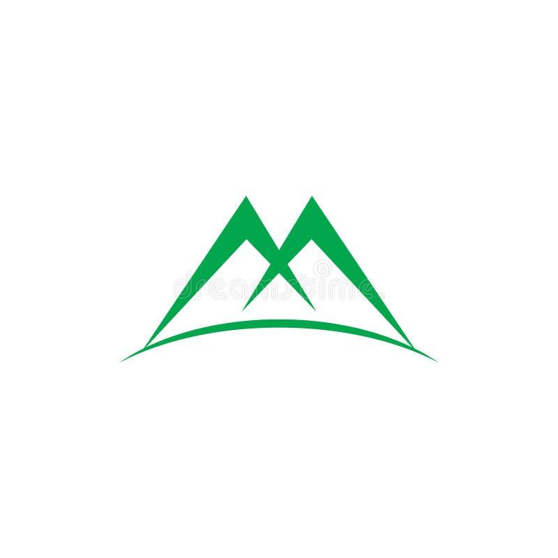 Вектор логотипа горы зеленого цвета письма m иллюстрация вектора