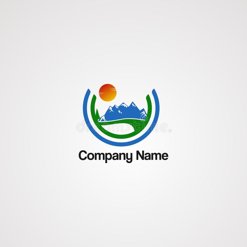 Вектор логотипа горы улицы с концепцией солнца и круга, элементом, шаблоном, и значком, для компании иллюстрация штока