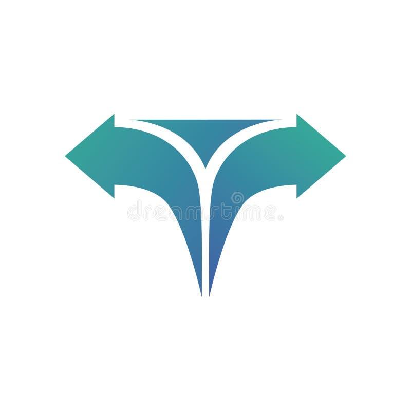 Вектор логотипа дизайна градиента стрелки письма t бесплатная иллюстрация