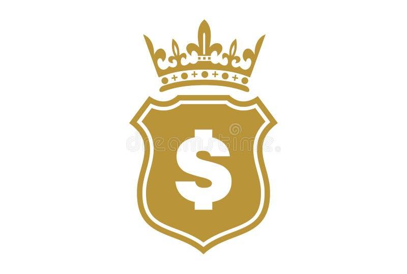 Вектор логотипа доллара экрана короля золота иллюстрация штока