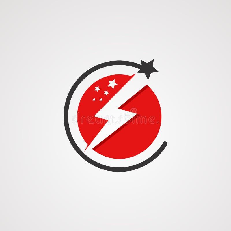 Вектор логотипа звезды силы с концепцией, элементом, шаблоном, и значком красного цвета круга для компании иллюстрация вектора