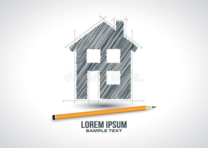 Вектор логотипа значка проекта эскиза дома иллюстрация вектора