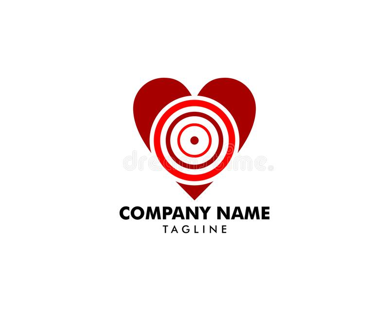 Вектор логотипа значка символа знака цели любов иллюстрация штока